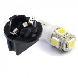 Zestaw Żarówka Led R10 T10 W5W 5x 5050 SMD 12V biała + oprawka W5W
