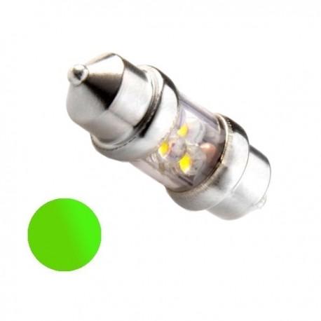 Żarówka Led 10x31 4x 3mm 12V zielona