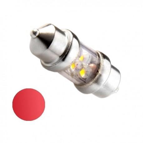 Żarówka Led 10x31 4x 3mm 12V czerwona
