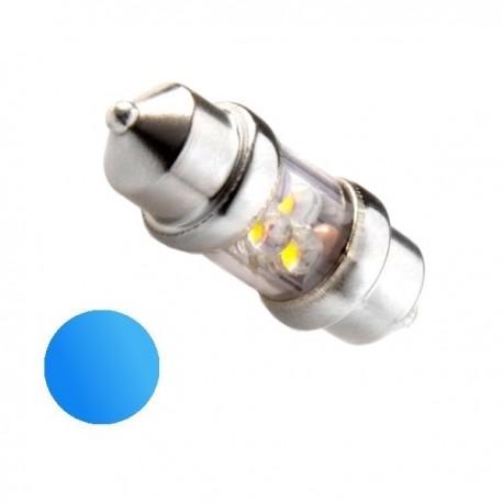 Żarówka Led 10x31 4x 3mm 12V niebieska