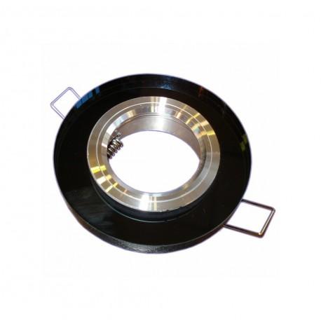 Oprawa żarówki GU10 / MR16 okrągła szkło czarna
