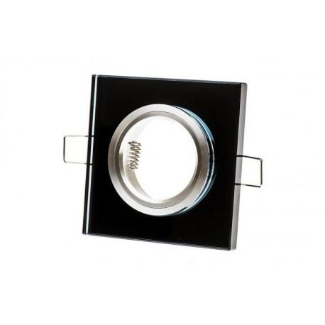 Oprawa żarówki GU10 / MR16 kwadrat szkło czarna